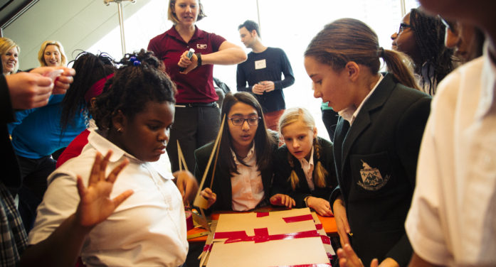 Young engineers build bridges at Perot